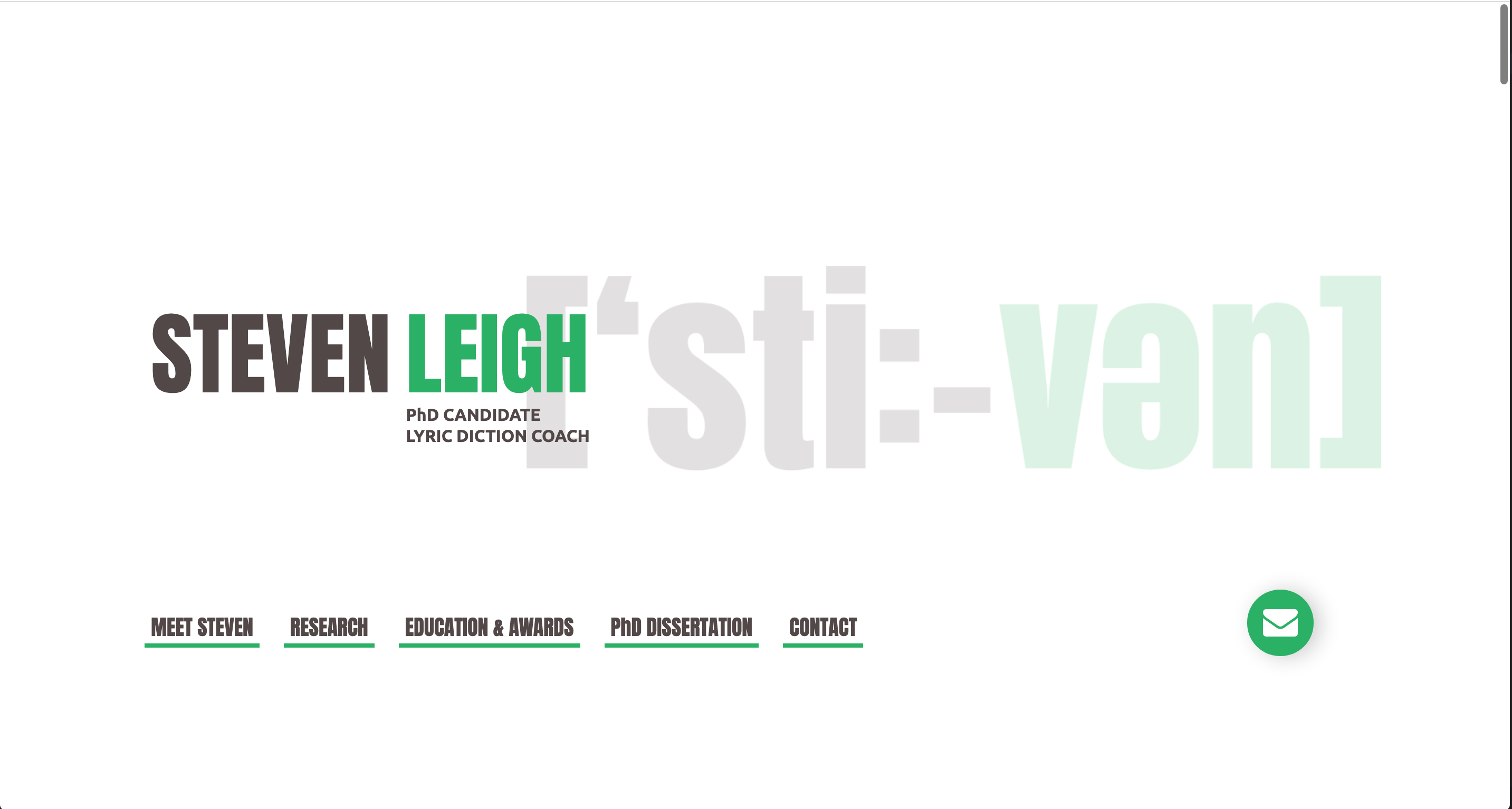 screenshot for the resume-site of Steven Leigh